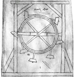 Technik von 2015, hier eine Skizze von 1230 (Quelle: Villard de Honnecourt; gemeinfrei)